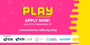 Cartel color rojo con letra blancas y amarillas sobre concurso del BID para buscar videojuegos en América Latina y El Caribe