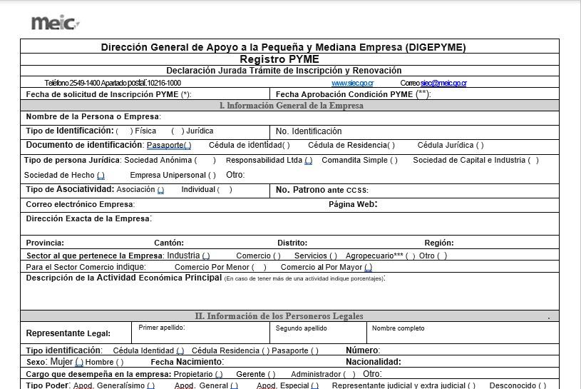 Formulario para registro PYME en el MEIC