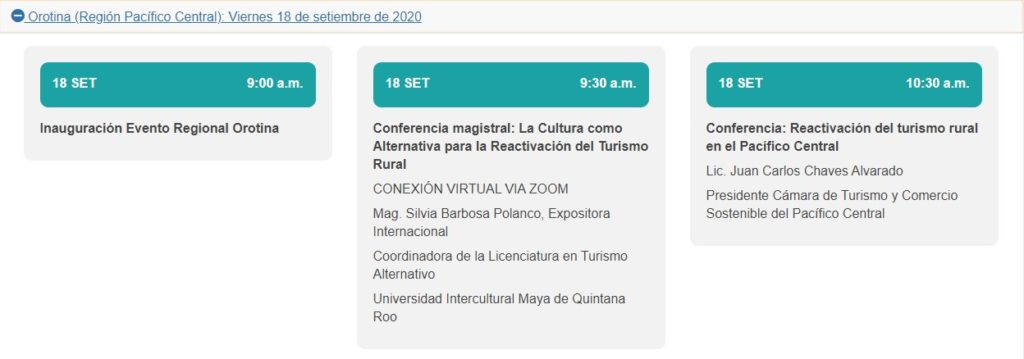 Fechas de conferencia encuentro turismo rural
